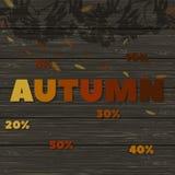 Jesień rabaty drewniany tekstura wizerunek z słowami - i jesieni cień halny popiół rozgałęzia się Fotografia Stock