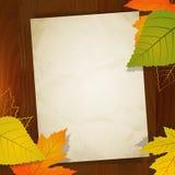 Jesień rocznika papier dla sprzedaży na drewnianym tle Obraz Stock