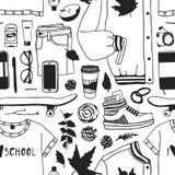 jesień rysująca ręki ilustracja Kreatywnie atrament sztuki pracy szkoły rzeczy Faktyczny wektorowy Studencki Bezszwowy wzór ilustracja wektor