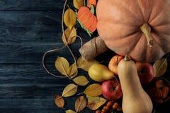 Jesień skład z bani, jesieni owoc z i - błękita stół zdjęcia royalty free