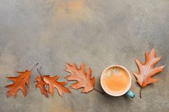 Jesień skład z filiżanką kawy i jesień liśćmi na tle kamienia lub betonu Obrazy Royalty Free