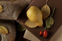 Jesień skład z gorącymi herbacianymi bonkretami, książkami i rosehip, zdjęcia stock