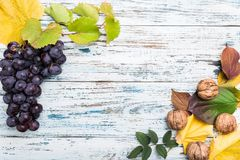 Jesień skład z liśćmi i owoc Na starym drewna background zdjęcie stock