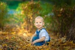 Jesień, spadek, dziewczyna, dziecko szczęśliwy, mały, dzieciak, natura, park, liście, sezon, portret, kolor żółty, ulistnienie, d Obraz Royalty Free