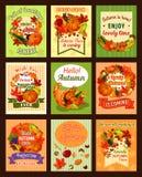 Jesień spadek i liść zbieramy retro plakata set ilustracja wektor