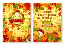 Jesień spadku rabata i sprzedaży sezonowy promo royalty ilustracja
