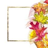Jesień szablonu tło Sezonowe ilustracje Sieć sztandaru szablon beak dekoracyjnego latającego ilustracyjnego wizerunek swój papier Zdjęcia Stock