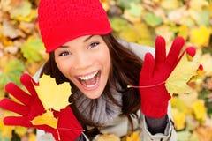 Jesień szczęśliwa kobieta Zdjęcie Royalty Free
