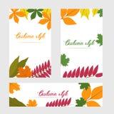 Jesień sztandar Plakat z liśćmi wektor Zdjęcie Royalty Free