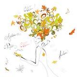 jesień włosy kobieta Obraz Royalty Free