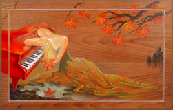 Jesień w Douarnenez Portret piękne kobiety marzy w fantazi środowisku Obraz olejny na drewnie Zdjęcia Stock