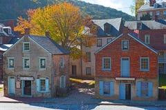 Jesień w harfiarzach Przewozi historycznego miasteczko w Zachodnia Virginia, usa fotografia stock