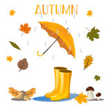 Jesień w lasowym plakacie z czerwonymi parasolowymi wellingtons i jeżów drzew bagażników tła kreskówki ilustracją Ilustracji