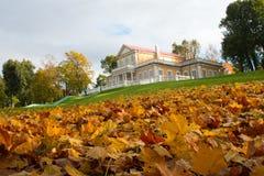 Jesień w parku na ulicach i starożytna manor obraz stock