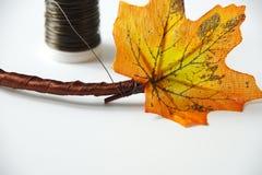 Jesień wianek jesień liście Robi mię yourself na instrukcjach Fotografia Stock