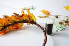 Jesień wianek jesień liście Robi mię yourself na instrukcjach Obraz Royalty Free