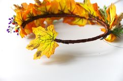 Jesień wianek jesień liście Robi mię yourself na instrukcjach Obrazy Stock