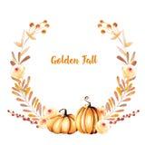 Jesień wianek z akwareli baniami, gałąź, spadków kwiatami i jagodami, ilustracji