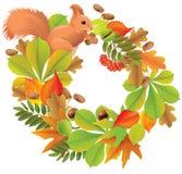 Jesień wianek z wiewiórką ilustracja wektor