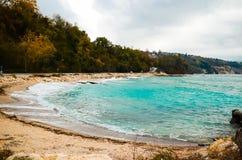 Jesień widok morze z drogą Zdjęcia Stock