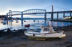 Jesień wieczór Pod Tamar mostem zdjęcia royalty free