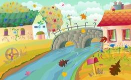 Jesień wiejski krajobraz royalty ilustracja