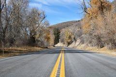 jesień zielonych drogowych słońca drzew pogodowy kolor żółty obrazy royalty free