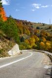 jesień zielonych drogowych słońca drzew pogodowy kolor żółty Fotografia Stock