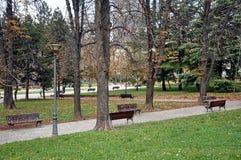 jesień ławek parkowa sceneria Zdjęcia Royalty Free