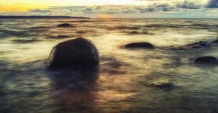 jesień Baltic wieczór morza zmierzch Obrazy Stock