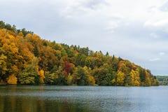 Jesień barwi drzewa i lasu w Lithunia Zalieji ezerai Krajobraz i natura Jezioro w przedpolu Fotografia Royalty Free