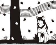 jesień husky ilustracji
