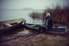 jesień jeziora kobieta Obraz Stock