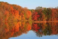 Jesień jeziora krajobraz Obrazy Royalty Free