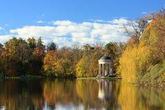 Jesień jezioro w Nymphenburg, Monachium Zdjęcie Stock