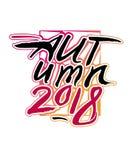 Jesień 2018 Kaligrafii sztuki jesieni sezonowy logo Royalty Ilustracja