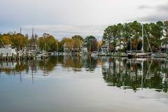 Jesień kolor Chesapeake zatoki schronienie w St Michaels i brzeg Zdjęcie Stock