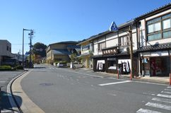 Jesień koloru zmiana Japonia przy Kinosaki onsen obrazy stock