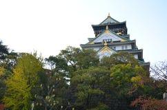 Jesień koloru zmiana Japonia przy Osaka kasztelem zdjęcie stock