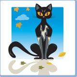 Jesień kot ilustracji