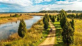 Jesień krajobraz droga Fotografia Royalty Free