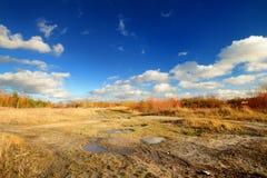 Jesień krajobraz przeciw Obrazy Royalty Free