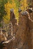 Jesień krajobraz Rockowej formaci ` s Czarci miasteczko w Radan górze, Serbia Zdjęcia Royalty Free