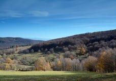 Jesień krajobraz z niebieskim niebem Obrazy Royalty Free