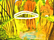 jesień krajobrazowi obrazu watercolours Zdjęcia Stock
