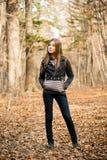 jesień lasu dziewczyna Obraz Stock
