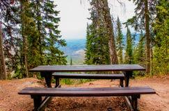 Jesie? lasu natura Parkowej ławki plenerowy krajobraz Drewniana ławka w górach Halna parkowej ławki panorama Pokojowy lata natura obrazy royalty free