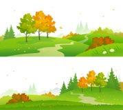 Jesień lasu sztandary Zdjęcia Stock