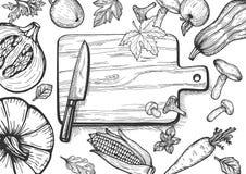 Jesień menu sezonowi owoc i warzywo obraz stock