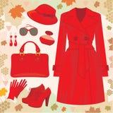 jesień mody set ilustracji